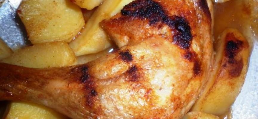 Пилешко бутче с картофи натръшка работници от Величково