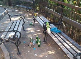 """Текущи безобразия: Кой троши бутилки пред читалище """"В.Петлешков""""?"""