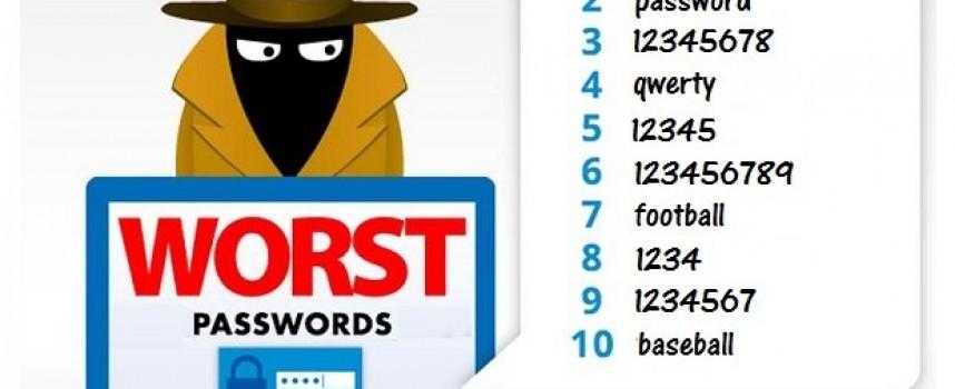 Кои са най-лошите пароли за 2017г.?
