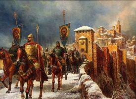 Цар Калоян за първи път освещава бойните си знамена на Богоявление